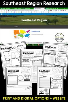 Southeast Region - one of the 5 regions of the United States - is a research project for students in grades 2-4. With this one easy lesson, your students can learn to complete a short research project. Included in this fun resource is a link to the Reference Website created exclusively for this project. The website is kid-friendly and ad-free. When you purchase Southeast Region, you get BOTH print and digital options making it easily compatible with Google Classroom™ and distance learning. Daily Lesson Plan, Lesson Plans, Reference Website, Create Website, Research Projects, Upper Elementary, Google Classroom, Social Studies, Distance