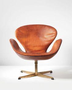 design-is-fine: Arne Jacobsen, Swan swivel chair, Leather, bronze. Manufactured by Fritz Hansen, Denmark. Via Phillips. Vintage Furniture, Modern Furniture, Furniture Design, Furniture Buyers, Cheap Furniture, Discount Furniture, Poltrona Swan, Poltrona Design, Swan Chair