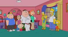 """Family Guy / Simpsons crossover preview:  The Griffins move in with the Simpsons in the Family Guy season premiere """"The Simpsons Guy."""" The hour-long special has a proportional amount of clips promoting the epic event. One clip shows even more cameos by the Animation Domination line-up including Bob's Burgers and The Cleveland Show. Now if we can just get some American Dad, which was cancelled by Fox.  #funny #sexy #tv  http://l7world.com/2014/09/family-guy-simpsons-crossover-preview.html"""