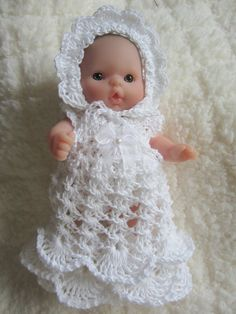 Christening Gown Doll Crocheted Outfit for 5 inch Itty by WeGirls, $12.49