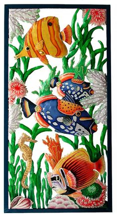 "Tropical Fish Wall Hanging - Hand Painted Metal Tropical Home Decor - Tropical Wall Decor - Metal Art - Large 17"" x 35"" - K-7301 by TropicAccents on Etsy"