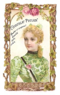 Jeune femme buste  Fleur Rose -  - Chromo Chocolat Poulain - Trade Card