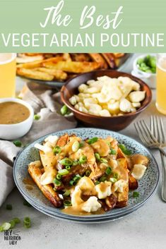 We're making Vegetarian Poutine today! Made with crispy oven fries, homemade vegan gravy, and authentic cheese curds, this vegetarian poutine recipe is where it's at for healthy-ish veggie comfort food. Vegan and gluten-free options are in the post, too. Vegetarian Gravy Recipe, Vegan Gravy, Vegetarian Comfort Food, Tasty Vegetarian Recipes, Dairy Recipes, Vegan Food, Vegan Cheese Substitute, Poutine Recipe, Crispy French Fries