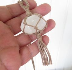 Selenite macrame woven hippie boho necklace - adjustable by homesteadhippie on Etsy