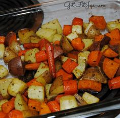 Easy healthy recipe - roasted carrots & sweet potatoes & regular potatoes in olive oil!
