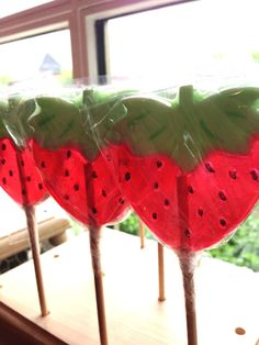 Strawberry lollipops | Vintage Confections custom lollipops and novelty sweets