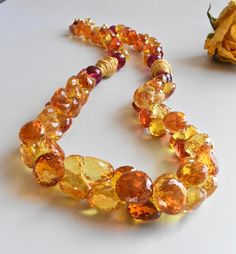 Sparkling necklace with Spinel ,Vermeil beads and clasp
