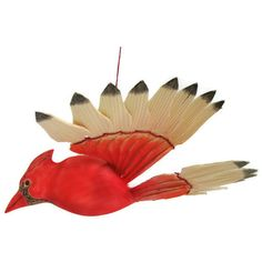 Red Cardinal Wood Carving, Carved Bird Mobile, Wildlife Art Décor,... (€41) ❤ liked on Polyvore featuring home and home decor