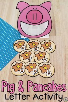 """This book-inspiredPig & Pancakes Letter Recognition Activity is an """"oink-tastic"""" way for pre-readers to practice identifying capital and lowercase letters!"""