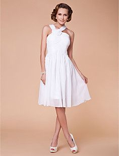 A-line Straps Knee-length Chiffon Mother of the Bride Dress – USD $ 129.99