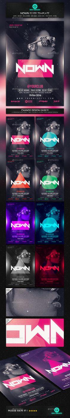 Electro Futuristic Neon Girl Flyer Template - Flyers Print Templates