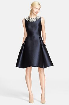 kate spade new york faux pearl rosette embellished fit & flare dress available at #Nordstrom