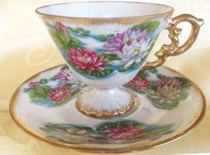 Beautiful July Water Lily Enesco Teacup Saucer Set Lustre Iridescent Opalescent Pearlized Flowers White Gold Pink