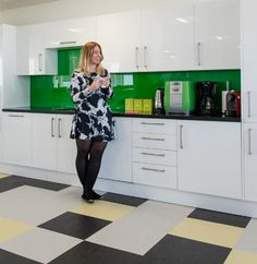 Splashes Of Lively Green And Bright White To Energise The Officeu0027s Kitchen  Space. Creating The