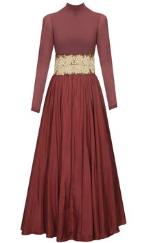 Maroon anarkali gown with rose embroidered belt available only at Pernia's Pop Up Shop.