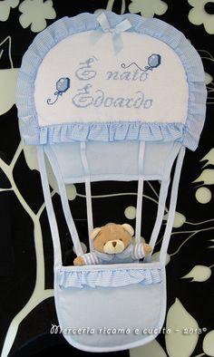 "Fiocco nascita mongolfiera celeste ""E' nato Edoardo"" | Gift"