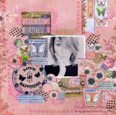 Moment Layout by Lynn Shokoples for BoBunny featuring the Butterfly Kisses Collection. #BoBunny @scrappyhappymom