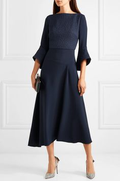 Roland Mouret | Hemming cloqué and crepe midi dress | NET-A-PORTER.COM