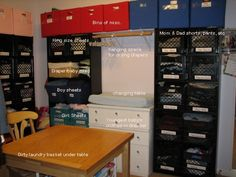 Family Closet: What about doing this in the back of our kitchen, complete with changing area? Large Family Organization, Kids Clothes Organization, Family Organizer, Diy Organization, Organizing Ideas, Laundry Closet, Laundry Room, Girls Dressing Room, Family Closet