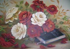 Rosas e Biblia - Pintura em tela, by Gostinho Bom