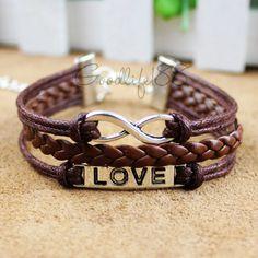 Love bracelet, infinity bracelet, karma bracelet, leather rope bracelet best gift for friends #words #bracelet http://www.loveitsomuch.com/