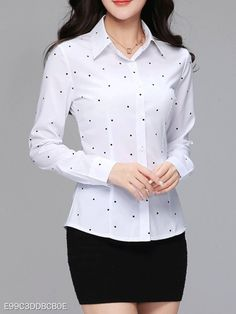 Turn Down Collar Polka Dot Long Sleeve Blouses Shop sexy club dresses, jeans, shoes, bodysuits, skirts and more. Cheap Blouses, Shirt Blouses, Blouses For Women, Shirts, Bell Sleeve Blouse, Blouse Online, Blouse Styles, Ideias Fashion, Long Sleeve