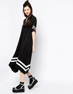 Monki   Monki Border Stripe V-Neck Dress at ASOS