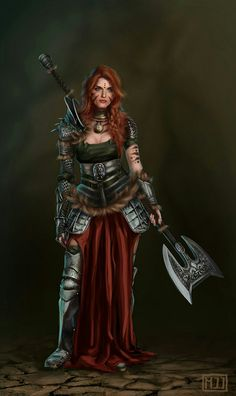 Female greataxe barbarian