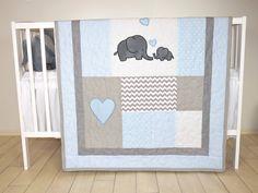 Éléphant bébé couette, literie pour berceau gris bleu, Chevron éléphant Blanket, pépinière de Safari gris