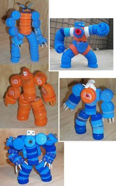 Diy Bottle Cap Crafts 811703532816189261 - Plastik Kapaklardan Robot Yapımı Source by gdatli Kids Crafts, Projects For Kids, Diy For Kids, Craft Projects, Bottle Top Crafts, Plastic Bottle Crafts, Plastic Caps, Diy Bottle, Cardboard Crafts