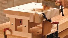 For routing and handwork, this minibench raises the action to a comfortable height