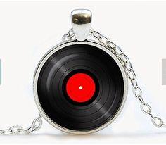 Vinyl Record pendant. Gramophone record necklace. Vinyl records albums Retro jewelry birthday gift Review