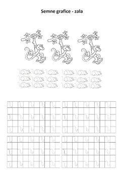 Lumea lui Scolarel...: Zala (semne grafice) Tracing Worksheets, Preschool Worksheets, Handwriting, Montessori, Calligraphy, Hand Type, Hand Written, Hand Lettering, Hand Drawn Typography