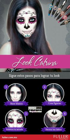 10 Spooky Makeup Looks for the Halloween Fanatic Halloween Makeup Sugar Skull, Sugar Skull Costume, Sugar Skull Makeup, Halloween Make Up, Halloween Crafts, Sugar Scull, Sugar Skull Face, Fantasy Make Up, Dead Makeup