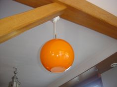 Suspension lampe orange verre. Lustre Vintage. 70's lamp.  France