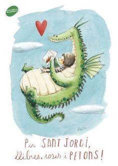 Conte infantil. Il·lustració de Rocío Bonilla. Font: animallibres.cat #SantJordi 2016 Dragon Illustration, Children's Book Illustration, Classe Dojo, Reading Art, Cute Dragons, Book Images, Drawing Lessons, Dragon Art, Whimsical Art