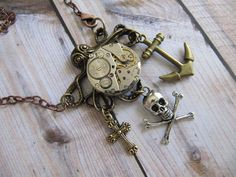 Steampunk Necklace Skull Anchor Steampunk by LuckySteamPunk, $32.00