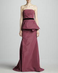 Strapless Peplum Gown, Mulberry by Carolina Herrera at Neiman Marcus.