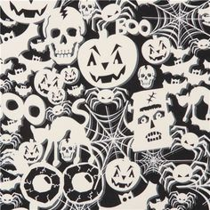 black white glow in the dark Halloween fabric Timeless Treasure 2