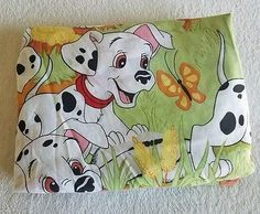 Vintage Disney 101 Dalmatians Twin Fitted Sheet Bedding Cutter Fabric Sewing