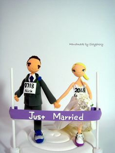 Marathon runners customized wedding cake topper by Clayphory, $180.00