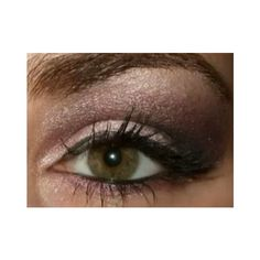 Purple and green eye look for Hazel eyes with a hint of green, nude... ❤ liked on Polyvore