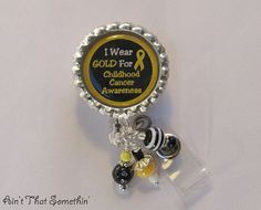 Childhood Cancer Awareness Retractable Badge Reel - Awareness ID Holder - Unique Badge Clips - Beaded ID Reels via Etsy