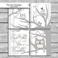 Set Of 4 8x10 Digital Downloads Coordinates With Levtex Baby Night Owl Crib Bedding - First We Had Each Other Then We Had You Quote by MyPrintBoutique on Etsy