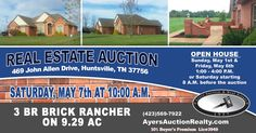 Live Auction, May 7th, 10 am.  Executive brick rancher home with acreage.  Ayers Auction and Real Estate, 10% Bp, Lic#3949.  #AuctionsWork