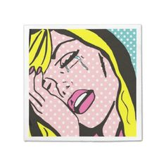 """Cry Me a River Pop Art Paper Napkins--These napkins are an hysterical touch to any """"over the hill"""" birthday party! #OverTheHill #40thBirthday #Retro #Comics #PopArt #Humor #Zazzle #Napkins #Party"""