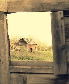 Window View Of Old Farm Barn