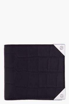 ALEXANDER WANG Black Croc Embossed Leather Bifold Wallie Wallet