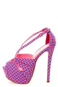 Privileged Uprise Neon Pink Zigzag Striped Platform Heels - $43.00 ::clicking my heels so these appear in my closet::