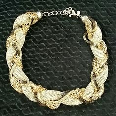 Braided necklace Charcol, gold, silver chain necklace Jewelry Necklaces